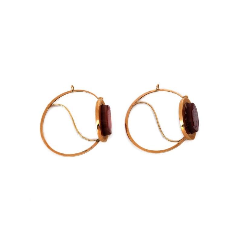 site web pour réduction moins cher économiser Boucles d'oreilles Poissardes XIXème avec camée en agate
