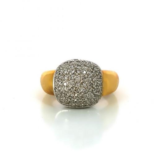 Bague diamantée en or jaune 18k