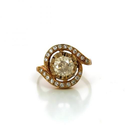 Bague diamants en or jaune 18k