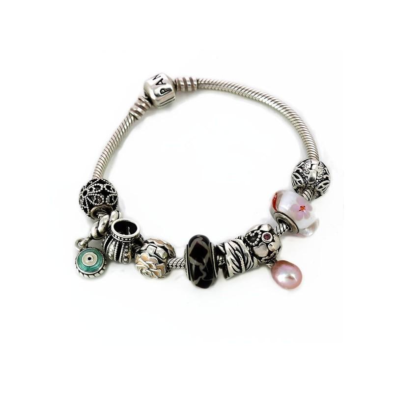 bracelet pandora argent noirci