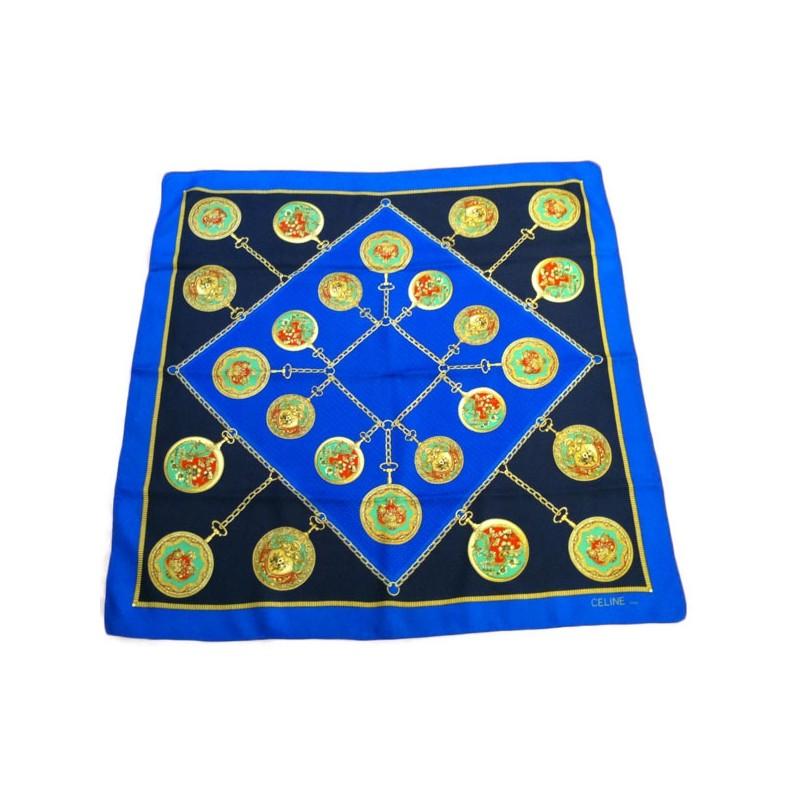 Foulard Céline Bijoux fond bleu en soie. Promo -50% 46f5fe6b032