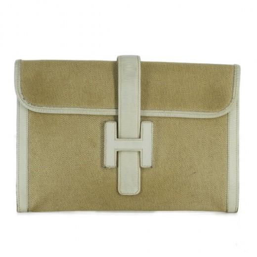 Pochette Hermès Jigé en cuir blanc cassé et tissu beige