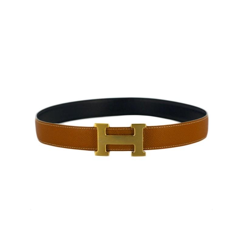 code promo c9636 4371b Ceinture Hermès H en cuir noir/ gold