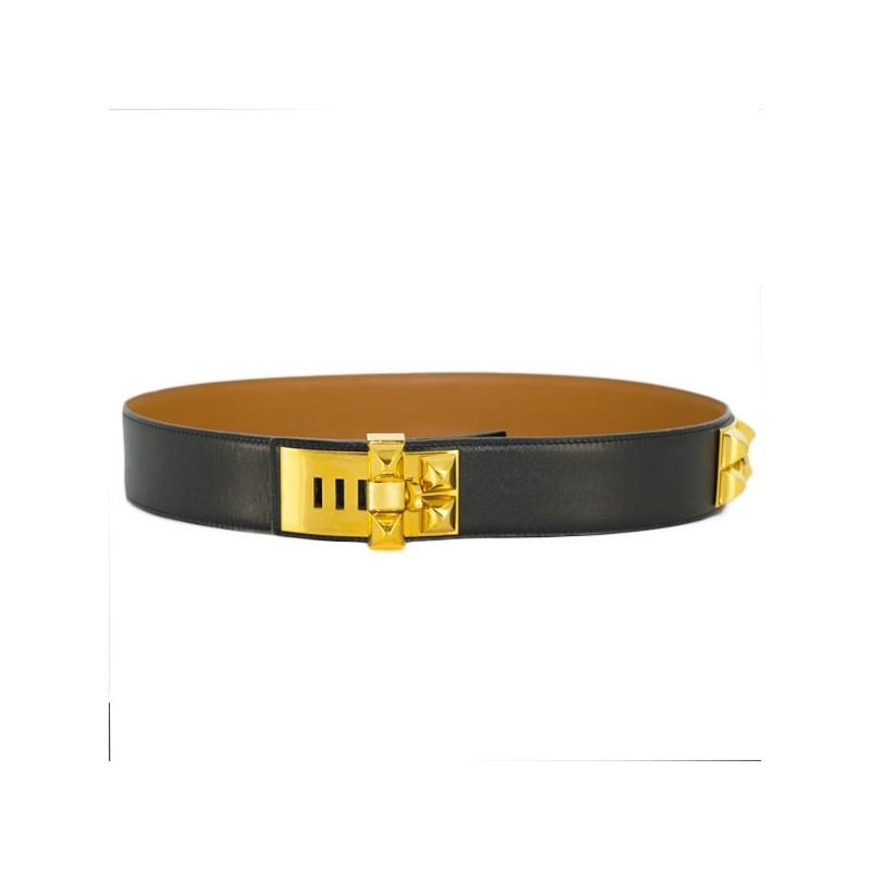5d32982b66b9 Ceinture Hermès Médor en cuir noir. Vendu