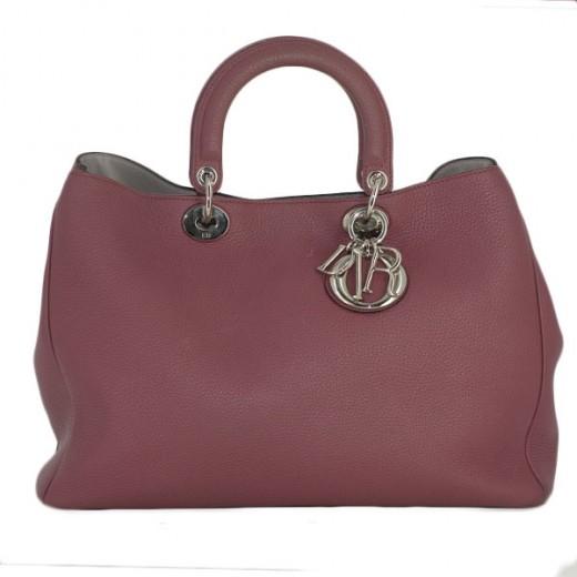 Sac Christian Dior Diorissimo GM en cuir vieux rose