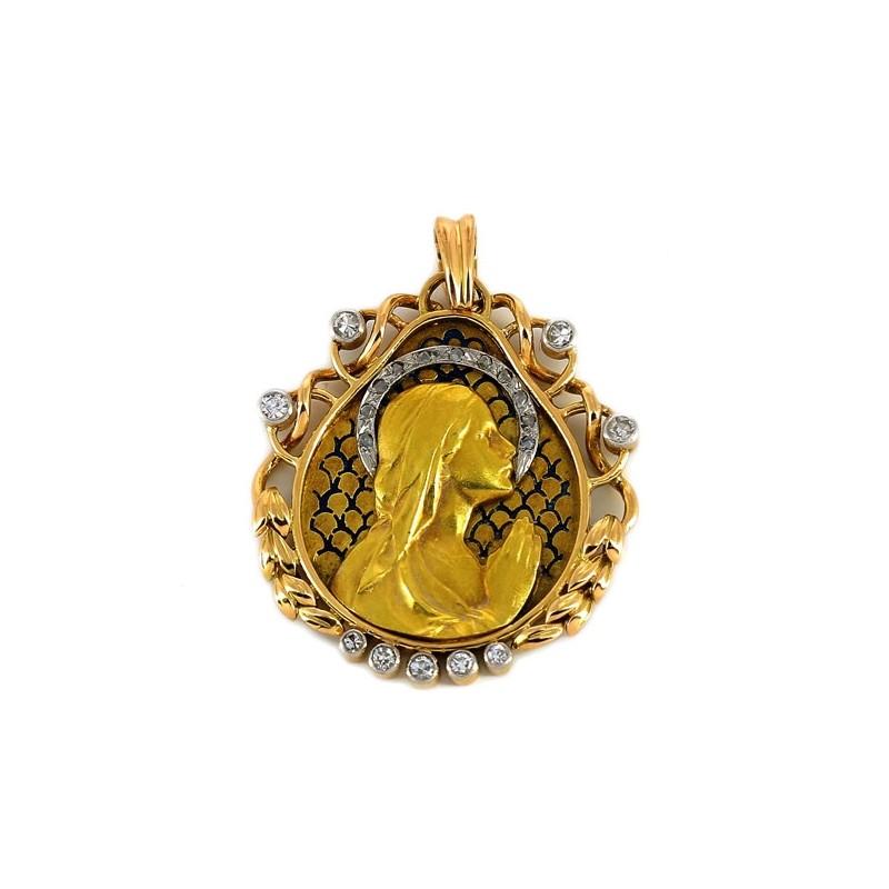 e76efd2865c Médaille ancienne Vierge 2 ors et diamants