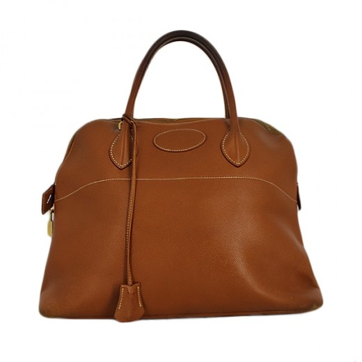 Sac Hermès Bolide 35 en cuir gold