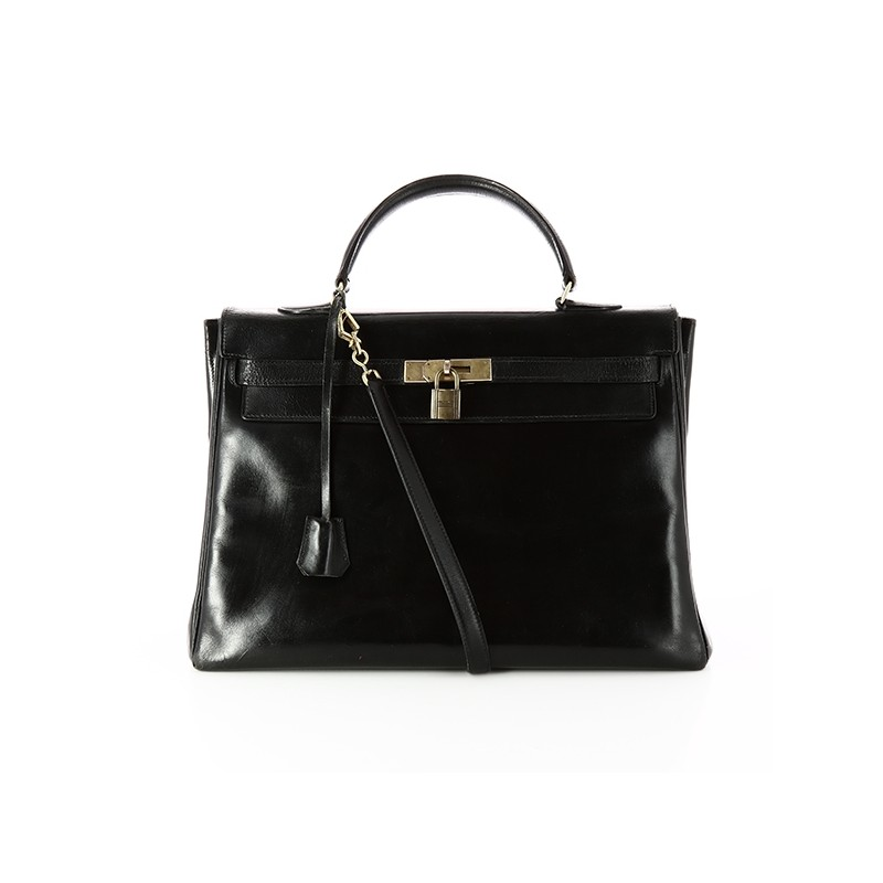 1fbffd388ca Sac Hermès Kelly 35 1950  en cuir noir. - Bon état général -