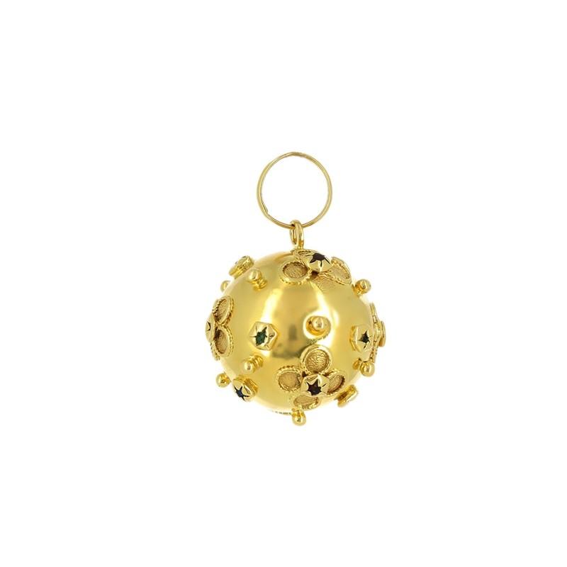 Breloque Boule Fleurs en or jaune avec des pierres semi précieuses