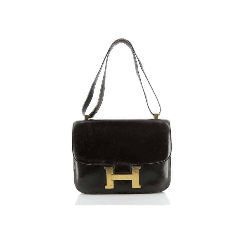 bb45692d885 Sac Hermès Constance en cuir chocolat