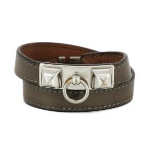 0f497415477 Bracelet Hermès Rivale Double tour en cuir étoupe