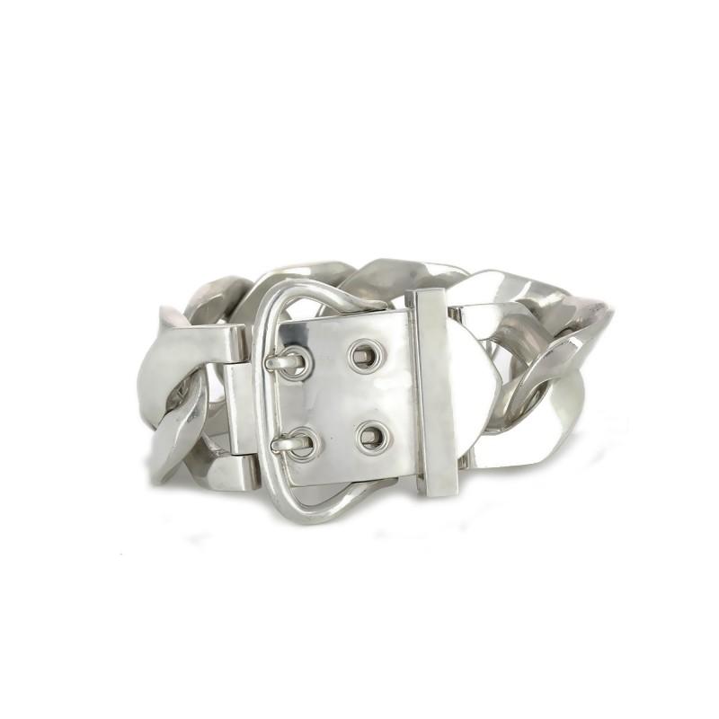 7ad2dcbfee15 ... Bracelet Hermès Boucle Sellier TGM en argent. Vendu