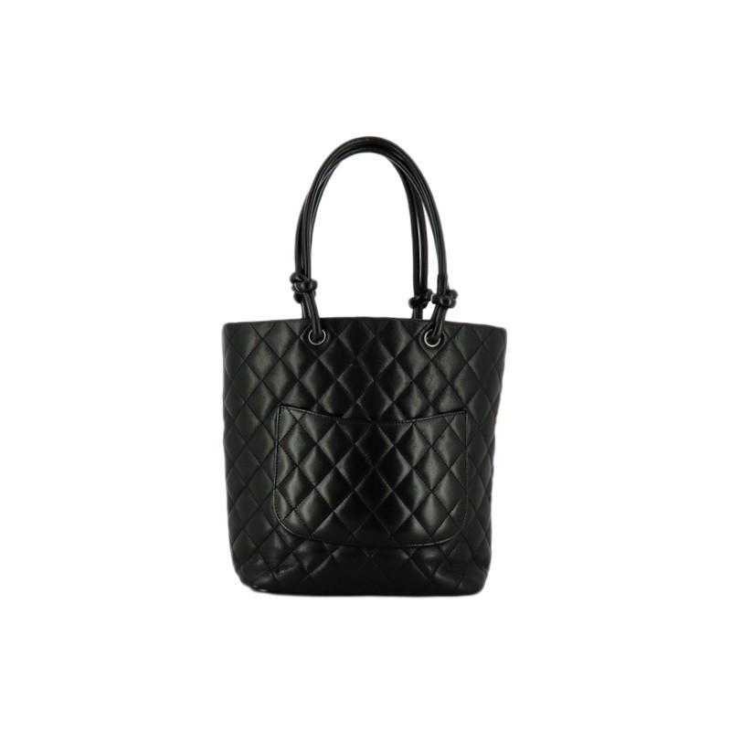 4cedd908f2b Sac Chanel Cambon en cuir noir matelassé