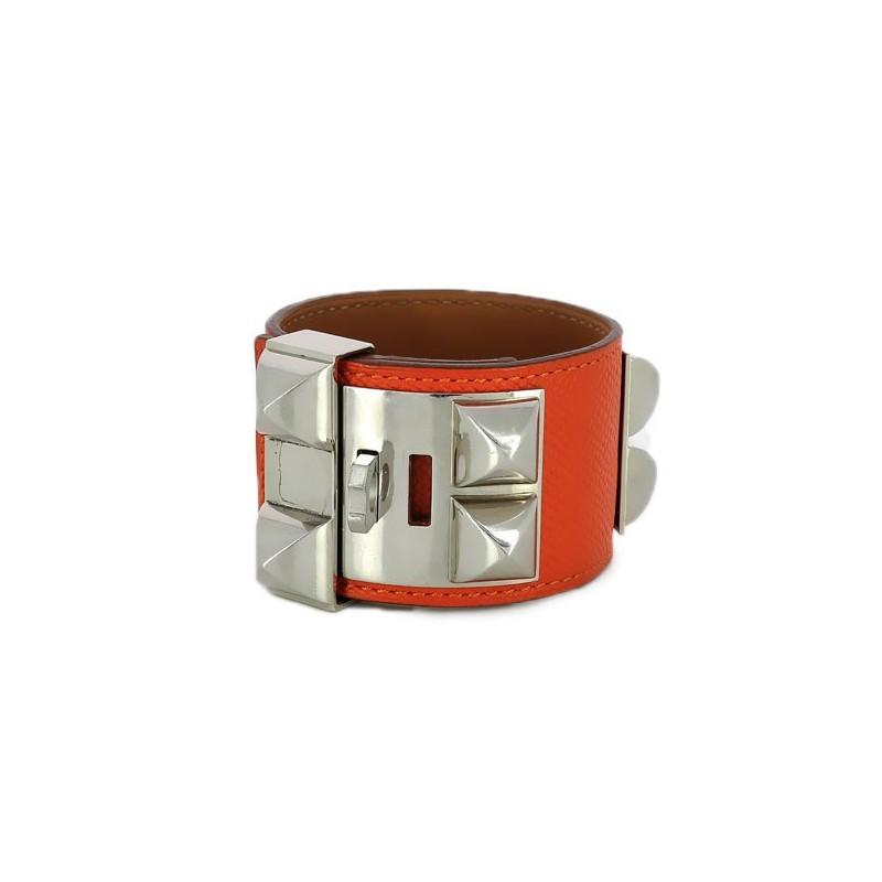 9e213bc1cae0 Accueil · Bijoux Fantaisie · Bracelet Hermès Collier de chien en cuir  orange. - Bon état général -