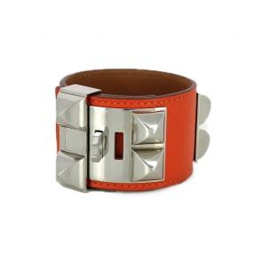 f5bb73c96ce Bracelet Hermès Collier de chien en cuir orange