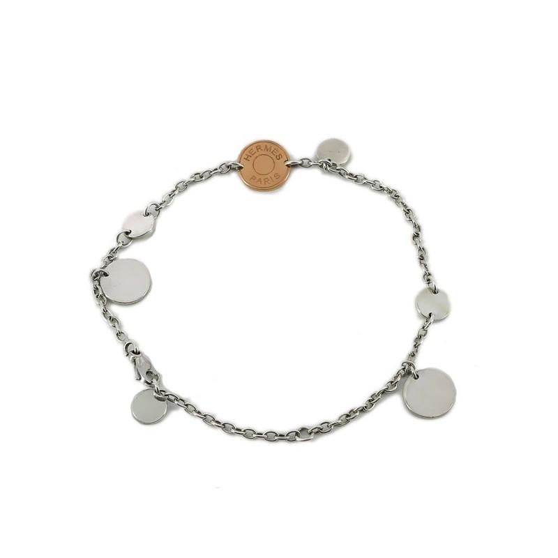 9487d9011e5 ... Bracelet Hermès Confettis en argent et or rose. Vendu