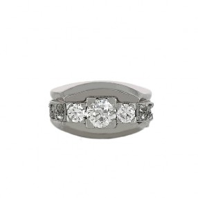 9beec934c6e1cc Bague 1950  en or blanc et diamants
