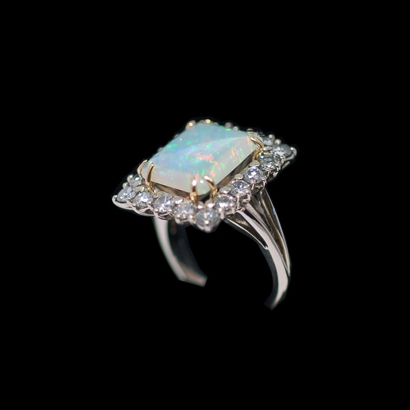 18k Or Jaune Et Platine Diamants Et Opale Plume Broche Fine Pins & Brooches Jewelry & Watches