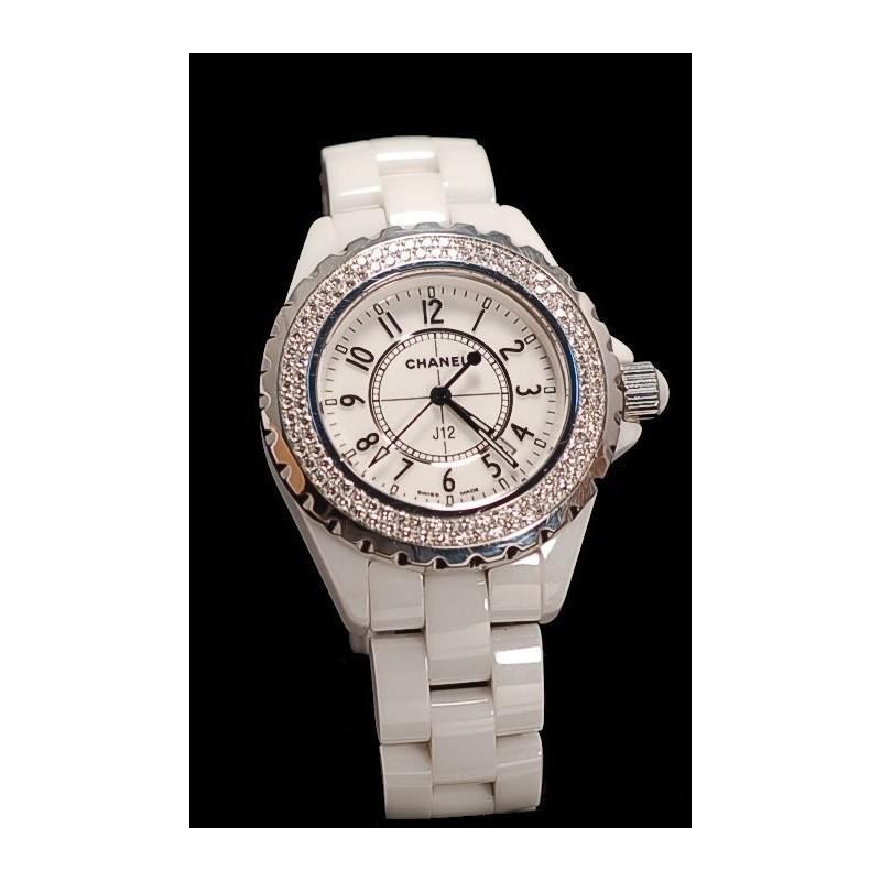 6f579c8b69f Montre CHANEL J12 Diamants en céramique blanche vendue chez CBBO ...