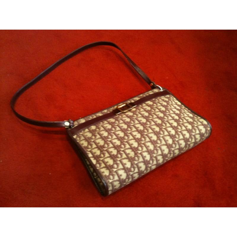 Sac Dior vintage toile logo et cuir bordeaux 271ca17c388