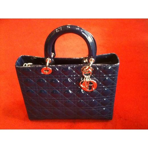 9b85f69f1fa Sac Dior Lady Dior cuir vernis bleu