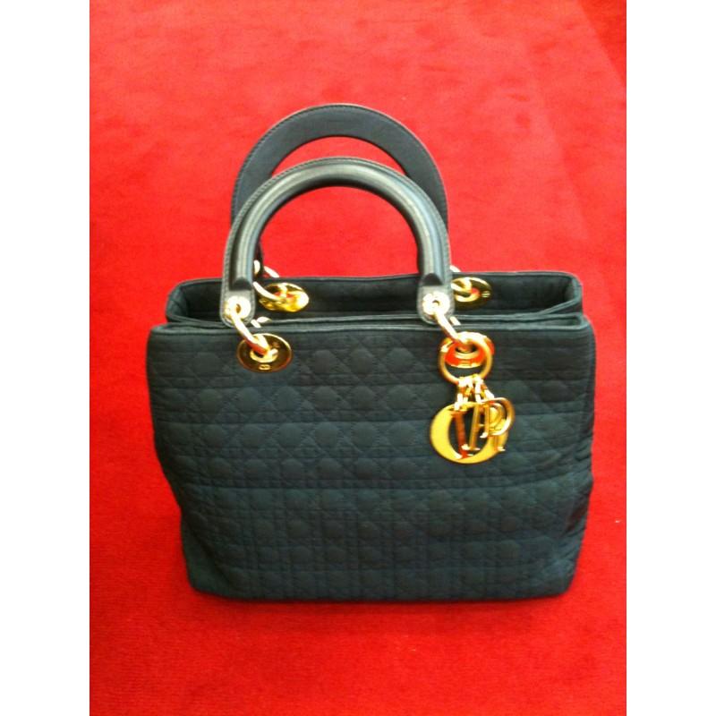 cfa574a1af Sac Dior Lady Dior toile et cuir bleu