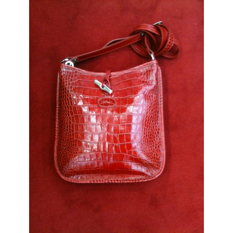 Sac Longchamp Roseau en cuir façon croco rouge