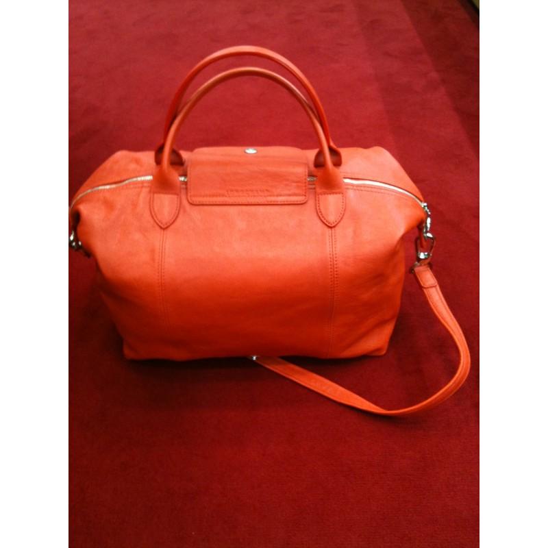 Sac Longchamp pliage cuir orange